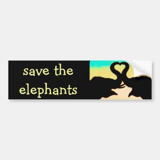 Save the Elephants heart trunks Bumper Sticker
