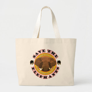 Save The Elephants Large Tote Bag
