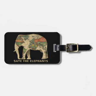 Save the elephants Luggage Tag w/ leather strap
