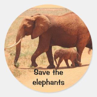 Save The Elephants Round Sticker, Glossy Classic Round Sticker