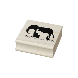 Save the Elephants Rubber Stamp