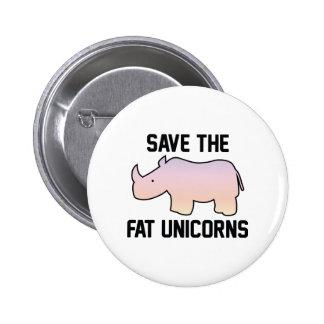 Save The Fat Unicorns 6 Cm Round Badge
