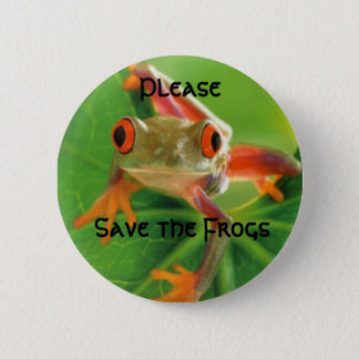 Save the Frogs, Please 6 Cm Round Badge