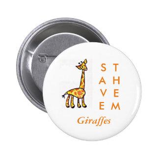 Save the Giraffes 1 6 Cm Round Badge