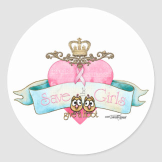 Save the Girls - Give a Hoot Round Stickers