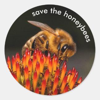 Save the Honeybees Pollinating Echinacea Classic Round Sticker