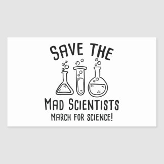 Save The Mad Scientists Rectangular Sticker
