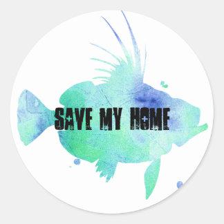 Save the Ocean ocean vibes aqua fish Classic Round Sticker