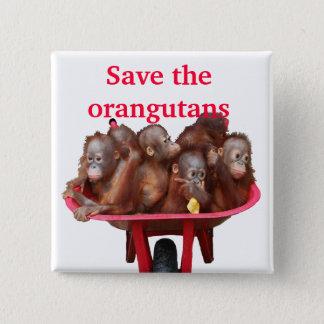 Save the Orangutans Cute Babies 15 Cm Square Badge