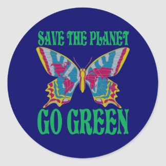 Save The Planet Go Green Classic Round Sticker