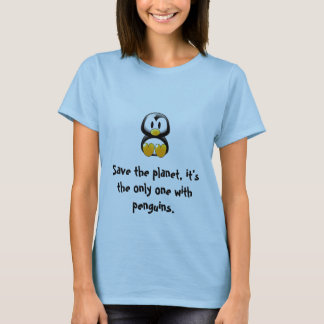 save the planet penguin tee