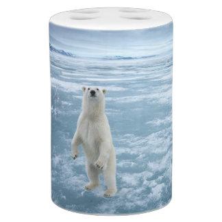 Save The Polar Bear Soap Dispenser And Toothbrush Holder