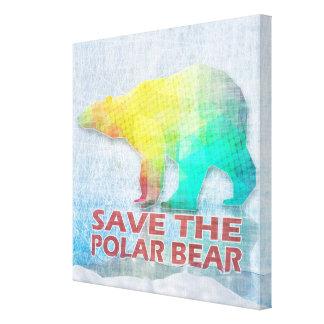 SAVE THE POLAR BEAR Wrapped Canvas Canvas Prints