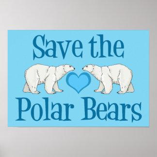 Save the Polar Bears Cute Blue Poster