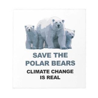 Save the Polar Bears Notepad