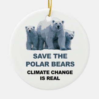 Save the Polar Bears Round Ceramic Decoration