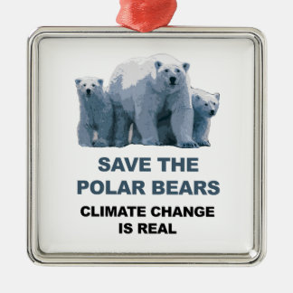 Save the Polar Bears Silver-Colored Square Decoration
