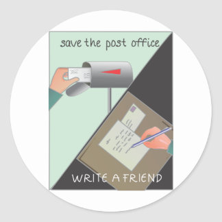 Save the Post Office/ Write a Friend Classic Round Sticker