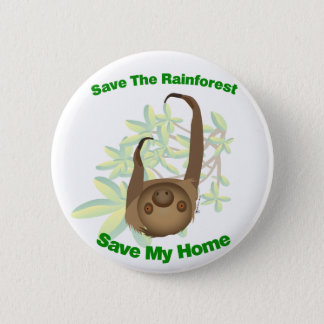 Save The Rainforest Sloth 6 Cm Round Badge