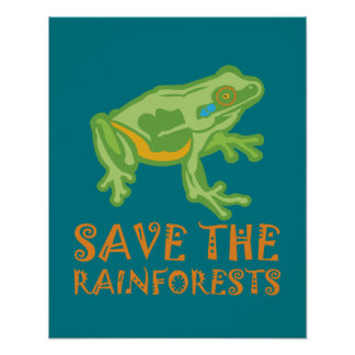 save-the-rainforests Tree Frog Poster