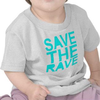 Save the rave blue NU Rave raver UK dance 80s Tshirt