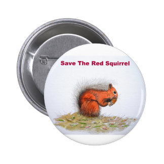 Save the red squirrel 6 cm round badge