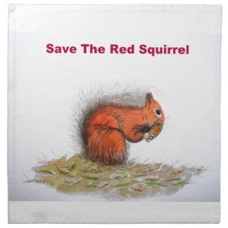 Save the red squirrel printed napkin