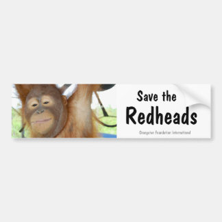 Save the Redheads Orangutan Wildlife Bumper Sticker