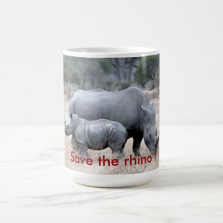 Save the rhino ! coffee mug