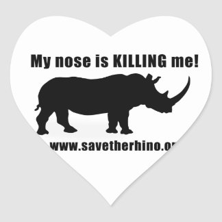 Save the Rhino Heart Sticker