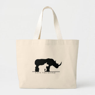 Save The Rhino (white ver.) Large Tote Bag