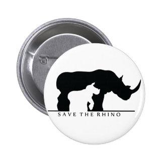 Save The Rhino white ver Pinback Button