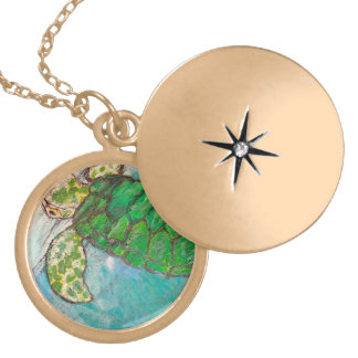 Save The Sea Turtles Gold Plated Necklace