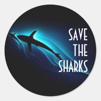 Save The Sharks Round Sticker