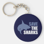 Save The Sharks, Save The Fins Basic Round Button Key Ring