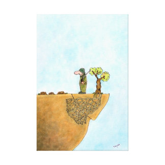 Save The Trees Cartoon Wrapped Canvas Canvas Prints