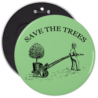Save the Trees Vintage Illustration Button 2