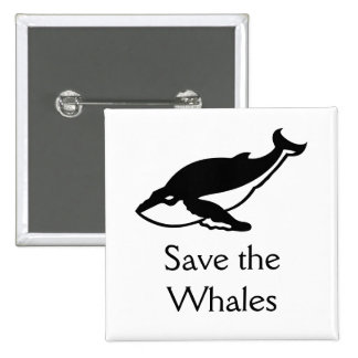 Save the Whales 15 Cm Square Badge