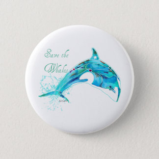 Save the Whales Blue 6 Cm Round Badge
