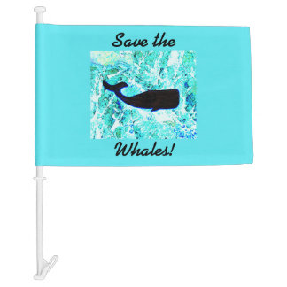save the whales car flag