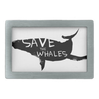 Save the Whales Rectangular Belt Buckle