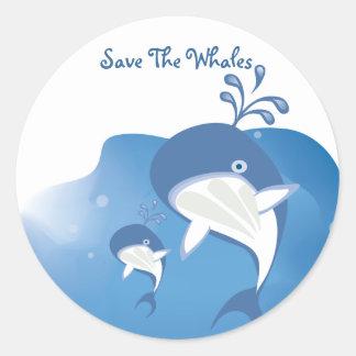 Save The Whales Round Sticker