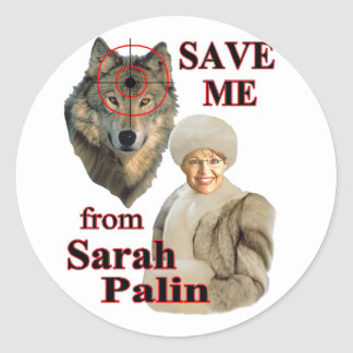 Save the Wolves from Sarah Palin Round Stickers