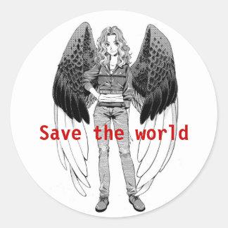 Save The World Round Sticker