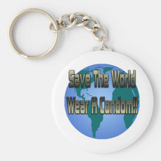Save The World Wear A Condom Basic Round Button Key Ring
