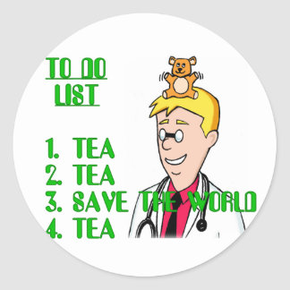 Save The World With Tea To Do List Round Sticker