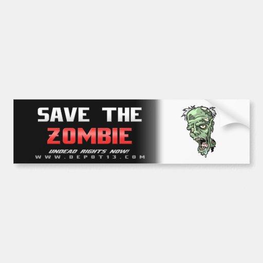 """""""Save the Zombie"""" Bumper Sticker"""