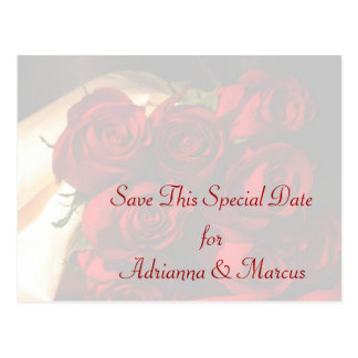 """Save this Special Date"" - Red Rose Bouquet Postcard"