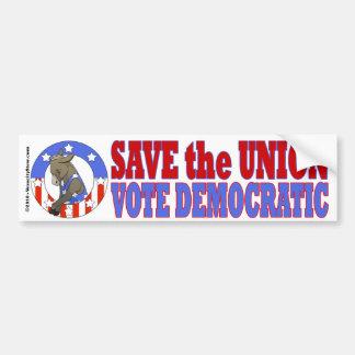 Save Union Vote DEM Bumper Stkr Car Bumper Sticker