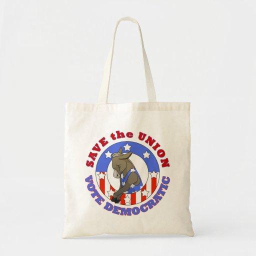Save Union Vote DEM Tote Canvas Bag